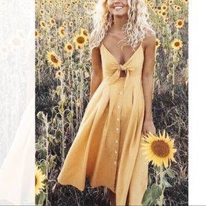 Tie Front Midi Sundress Yellow